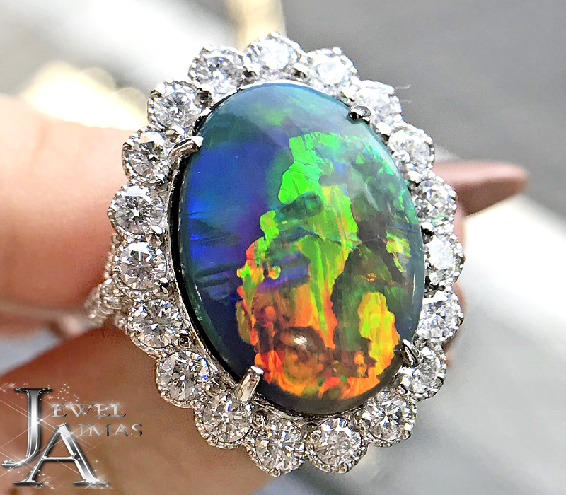 ブラックオパール 8.47ct ダイヤモンド 1.62ct リング 10.5号 PT900 プラチナ <遊色効果>【新品】【ジュエリー】MJJ