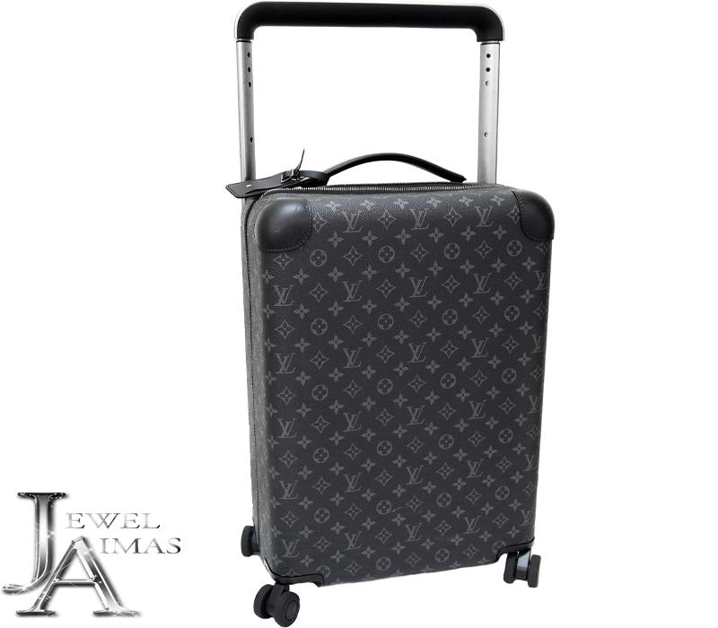 【LOUIS VUITTON】ルイヴィトン モノグラム エクリプス ホライゾン55 ブラック 黒 キャリー ケース トラベル バッグ 旅行鞄 キャンバス TSAロック M23002【中古】