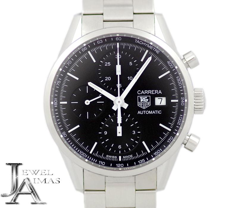 【TAG Heuer】タグホイヤー カレラ クロノグラフ CAR2210.BA0721 デイト 黒 ブラック 文字盤 SS ステンレス メンズ 自動巻き【中古】【腕時計】