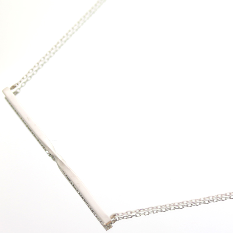 SALE10 オフダイヤモンド 0 11ct ラインネックレス バーネックレス K18WG ホワイトゴールドスライド式アジャスター付き新品ジュエリー MJLED29IH