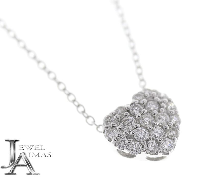 【Ponte Vecchio】 ポンテヴェキオ K18WG ハート ダイヤモンド 0.6ct ネックレス 【中古】