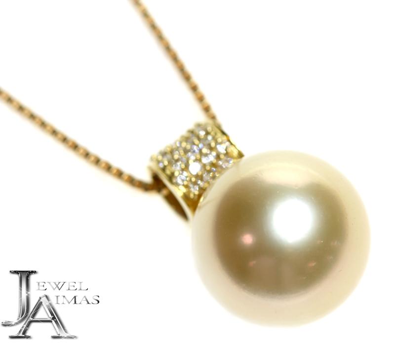 ゴールデンパール ゴールドパール 15.0mm 南洋真珠 金珠 ダイヤモンド 0.22ct ネックレス K18YG イエローゴールド<スライド式アジャスター>【中古】【ジュエリー】MER