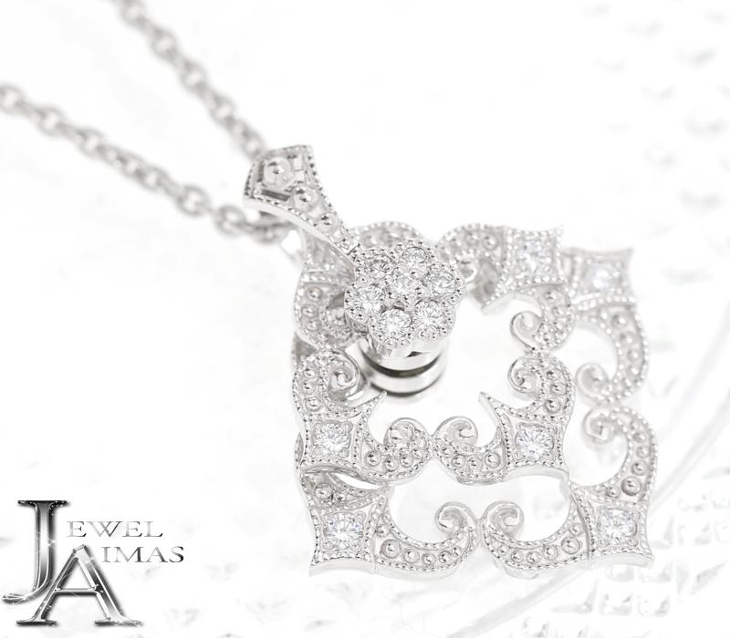【平和堂】H&Co HCO ダイヤモンド 0.43ct フラワー 花 スイング ムービング ネックレス  PT950 プラチナ <ゆらゆら/揺れる/スイング>【中古】MER