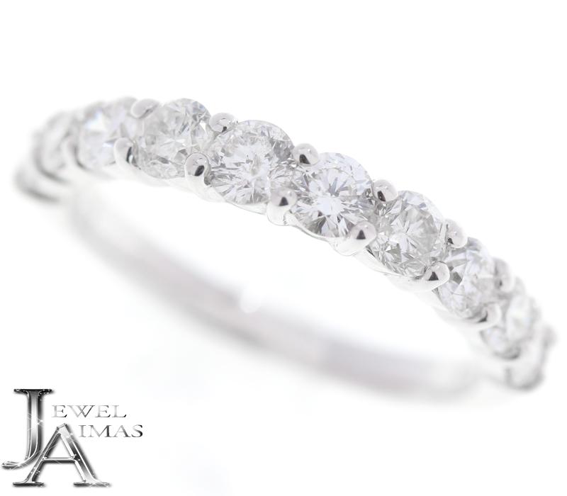 ダイヤモンド 1ct ハーフエタニティ リング 9号 K18WG ホワイトゴールド【中古】【ジュエリー】MEB