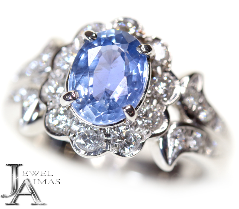 ブルーサファイア 1.628ct ダイヤモンド 0.5ct リング 9号 PT900 プラチナ【中古】【ジュエリー】MEB
