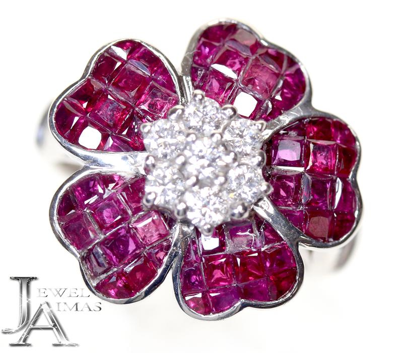 ルビー 3.83ct ダイヤモンド 0.35ct お花 フラワー リング 9.5号 K18WG ホワイトゴールド【中古】【ジュエリー】MEP