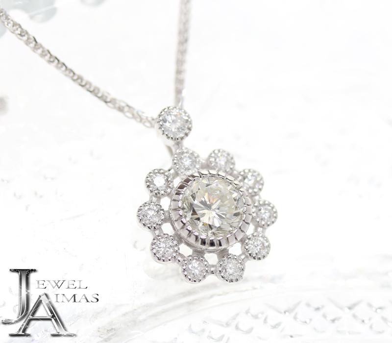 ダイヤモンド 1.227ct (K I-1 FAIR) メレダイヤモンド 0.44ct 花 フラワー ネックレス K18WG ホワイトゴールド <中央宝石ソーティング><スライド式アジェスター付き>【ジュエリー】【新品】MEJ