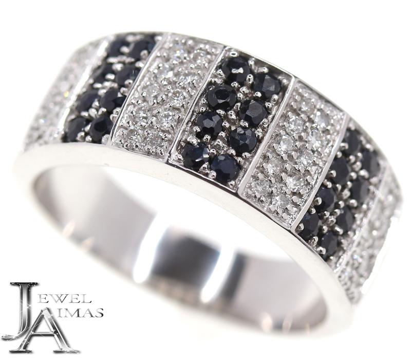 ブラックダイヤモンド 0.55ct ダイヤモンド 0.85ct パヴェダイヤ リング 23号 K18WG ホワイトゴールド メンズ ユニセックス【中古】【ジュエリー】RZZ.MU