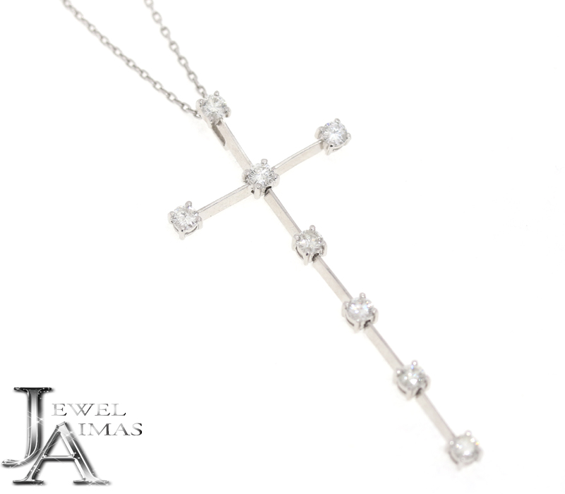 ダイヤモンド ラージメレ 1.08ct クロス 十字架 ネックレス K18WG ホワイトゴールド<スライド式アジャスター付き>【中古】【ジュエリー】RZZ.MU
