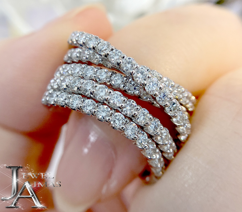 ダイヤモンド パヴェ リング 1.89ct 品質保証 X クロスデザイン 5連ダイヤ PT900 大幅値下げランキング プラチナ ジュエリー 中古 12号 RZJ.MU 幅広