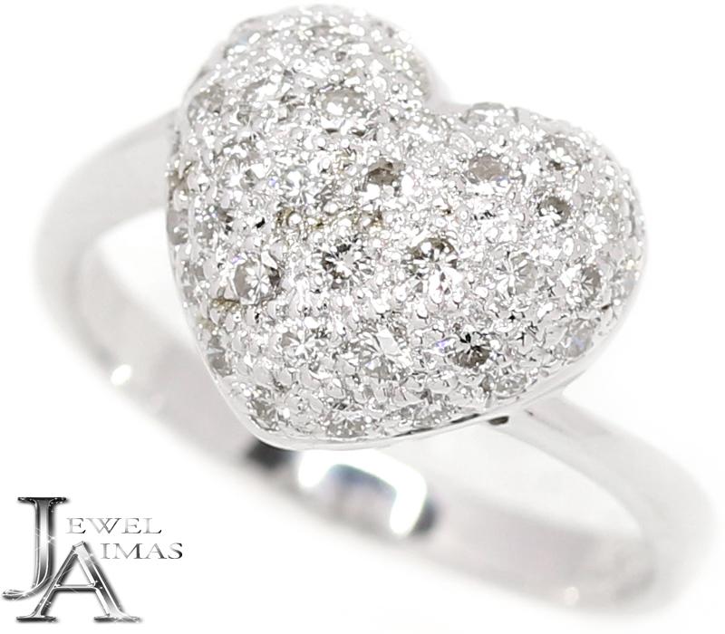 ダイヤモンド 0.56ct ハート リング 11号 K18WG ホワイトゴールド【中古】【ジュエリー】MJB