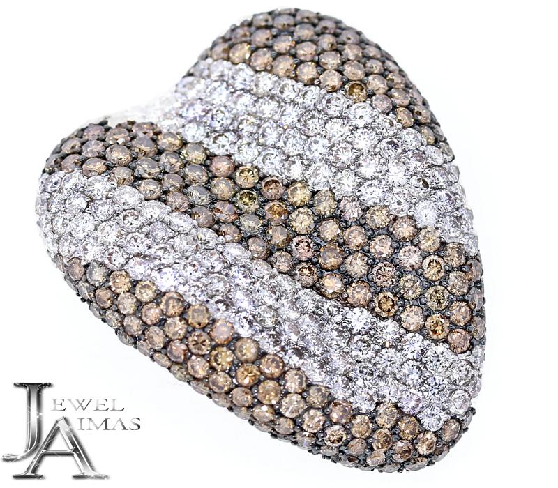 ダイヤモンド ブラウンダイヤモンド 9.95ct ハート デザイナーズ パヴェダイヤ ブローチ ペンダントトップ K18WG 2Way【ジュエリー】【中古】MJP