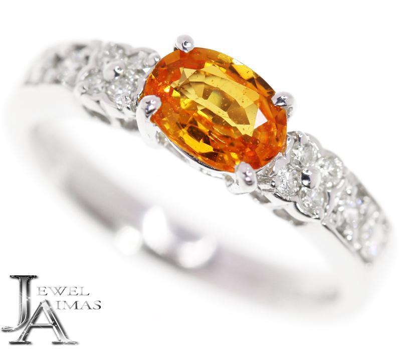 【ESTELLE】エステール オレンジサファイア 0.97ct ダイヤモンド 0.24ct リング 11号 PT900 <DGL鑑別書>【中古】MJJ