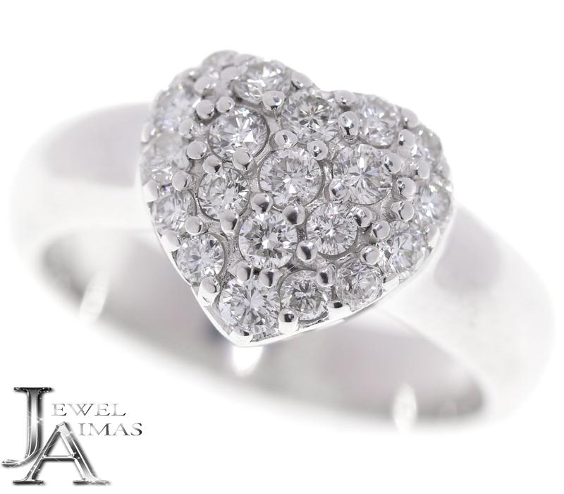 【Ponte Vecchio】ポンテヴェキオ ダイヤモンド 0.5ct ハート リング 10号 K18WG ホワイトゴールド【中古】MEZ
