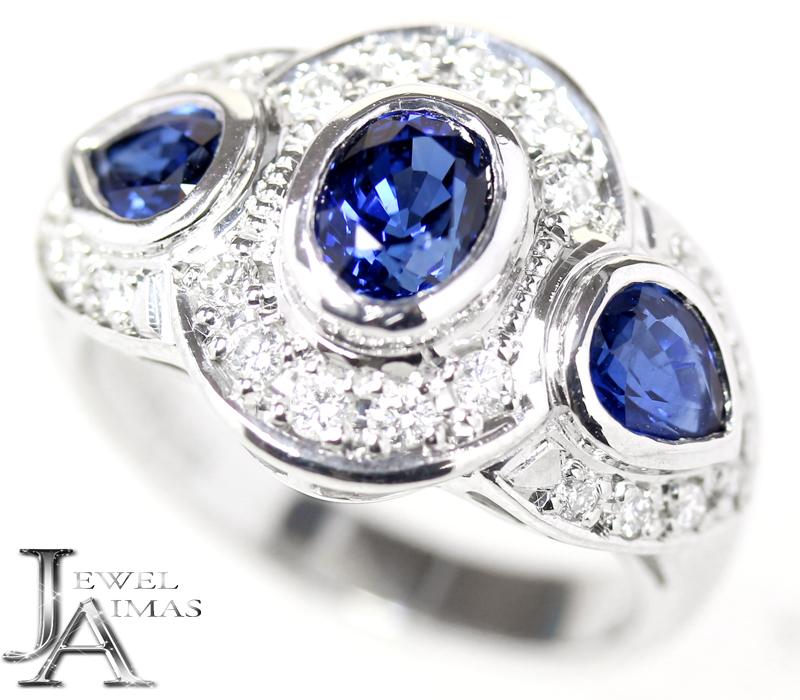 ブルーサファイア 1.73ct ダイヤモンド 0.34ct リング 11号 PT900 プラチナ【中古】【ジュエリー】MEM
