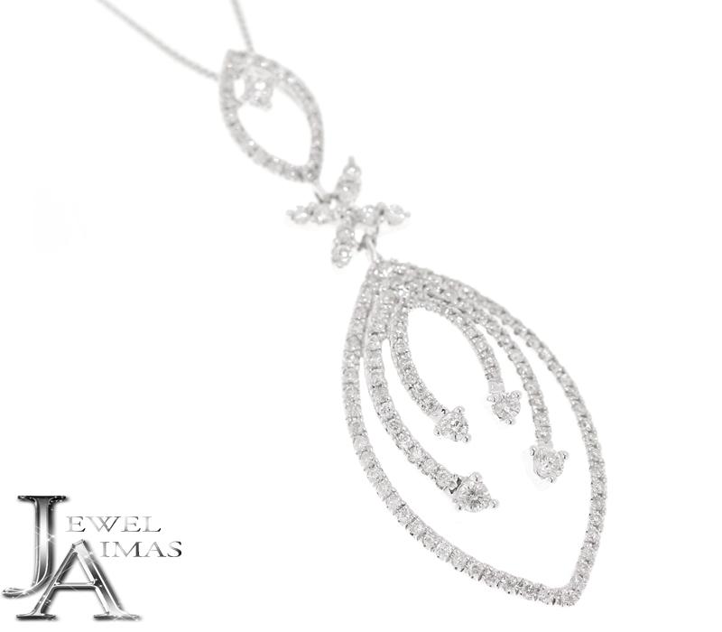 ダイヤモンド 0.85ct ネックレス K18WG ホワイトゴールド <スライド式アジャスター>【ジュエリー】【中古】MEY