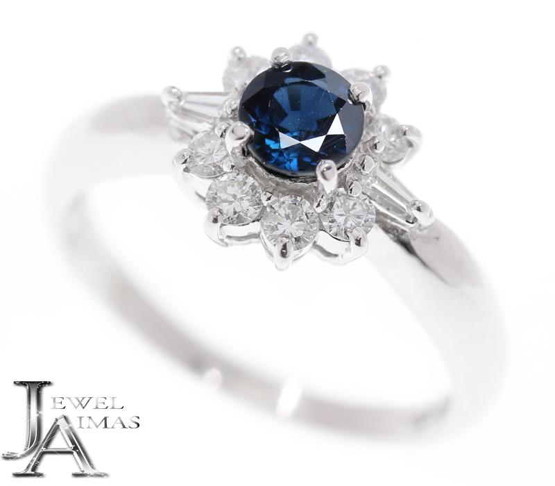 ブルーサファイア 0.59ct ダイヤモンド 0.32ct リング 10.5号 PT850 プラチナ【中古】【ジュエリー】MEY