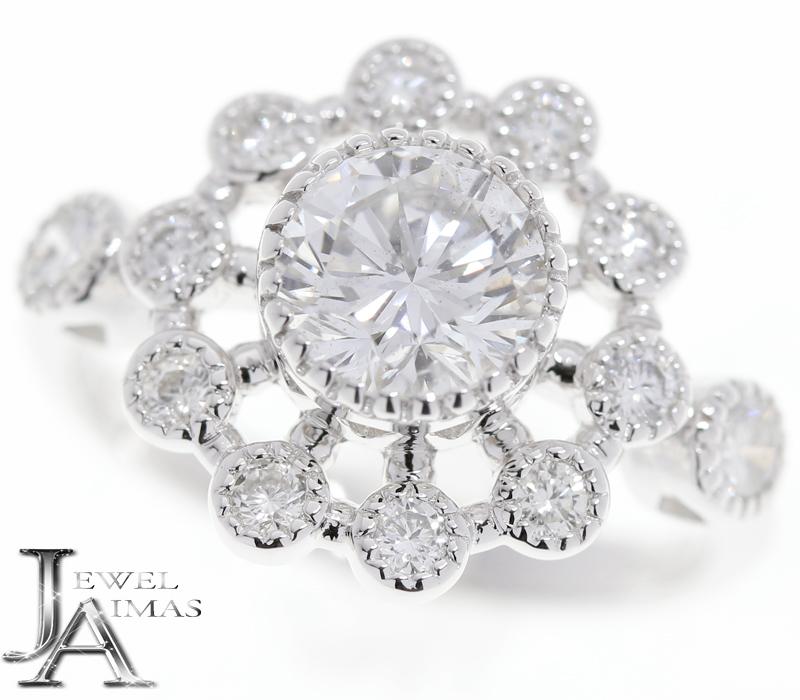 ダイヤモンド(F SI-2 GOOD) 1.103ct メレダイヤモンド 0.54ct お花 フラワー リング 12号 PT900 プラチナ【新品】【ジュエリー】MEY