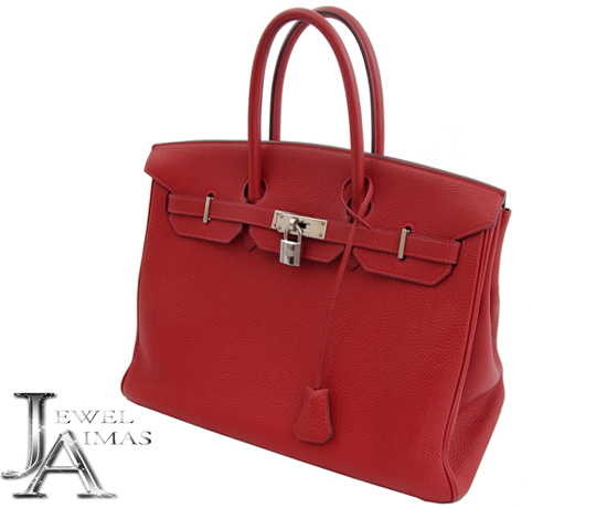 dfe31301715 Hermes Birkin 35 hand tote bags Red Red silver fittings there Birkin35 Black