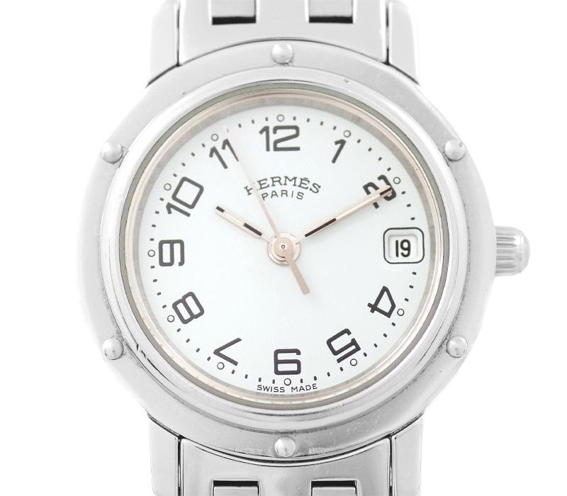 【HERMES】エルメス クリッパー CL4.210 ホワイト 白 文字盤 SS ステンレス レディース クォーツ【中古】【腕時計】