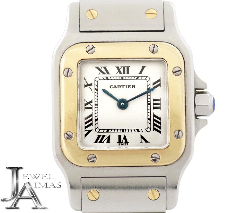 【Cartier】カルティエ サントスガルベ SM 観音ブレス W20012C4 アイボリー 文字盤 K18YG イエローゴールド SS ステンレス コンビ レディース クォーツ【中古】【腕時計】