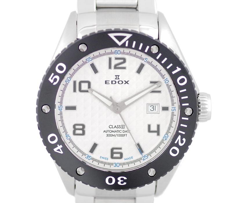 【EDOX】エドックス CLASS1 クラスワン 80079 白 シルバー 文字盤 SS ステンレス セラミック メンズ 自動巻き【中古】【腕時計】