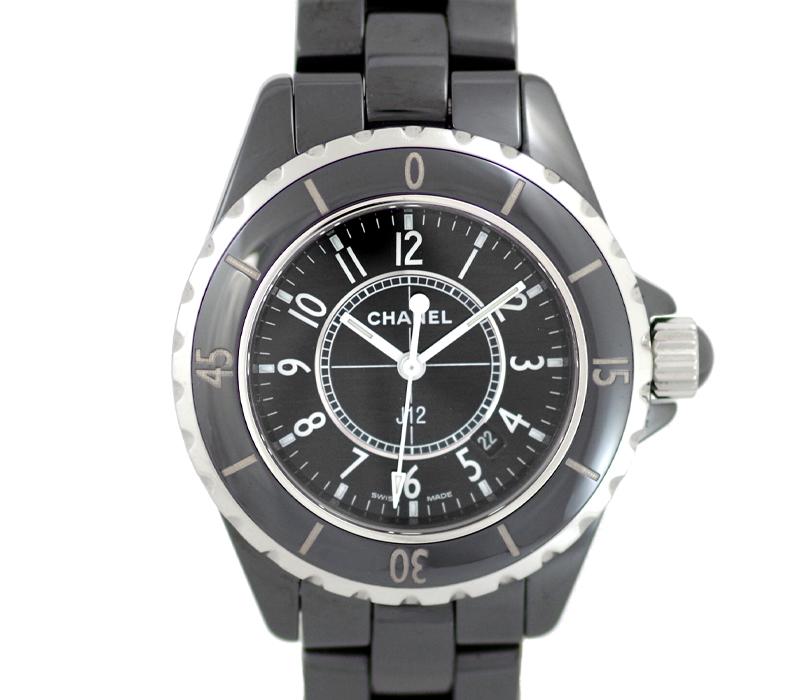 【CHANEL】シャネル J12 33mm H0682 200m防水 セラミック ブラック 黒 文字盤 クォーツ レディース【中古】【腕時計】
