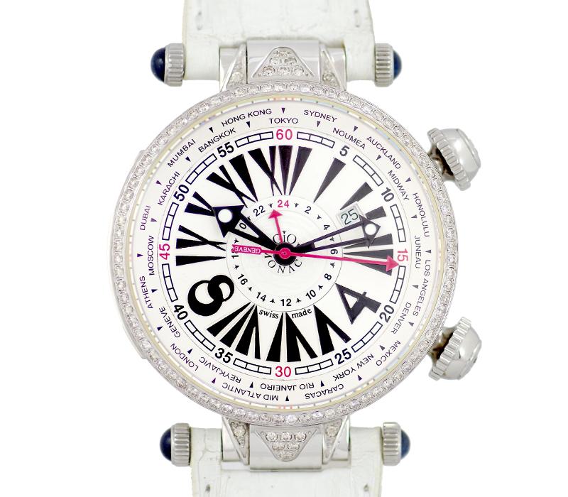 【GIO MONACO】ジオモナコ ジオポリス ワールドタイム GMT デイト ダイヤベゼル 純正ダイヤモンド 白 ホワイト 文字盤 SS ステンレス 自動巻き メンズ【中古】【腕時計】