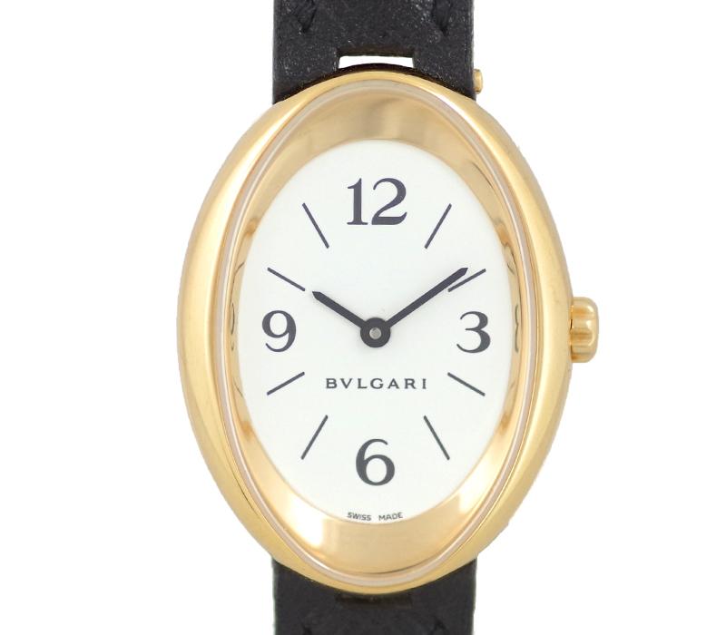 【スーパーSALE10%オフ!】【BVLGARI】ブルガリ オーバル OV32G 金無垢 白 ホワイト 文字盤 K18YG イエローゴールド 金無垢 レディース クォーツ【中古】【腕時計】