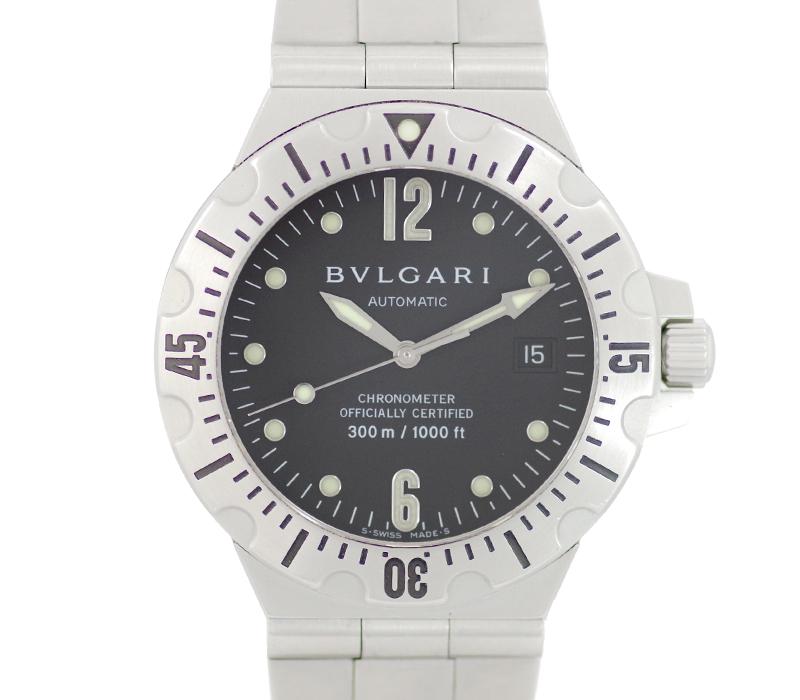 【BVLGARI】ブルガリ ディアゴノ スクーバ SD40S デイト 黒 ブラック 文字盤 SS ステンレス メンズ 自動巻き【中古】【腕時計】