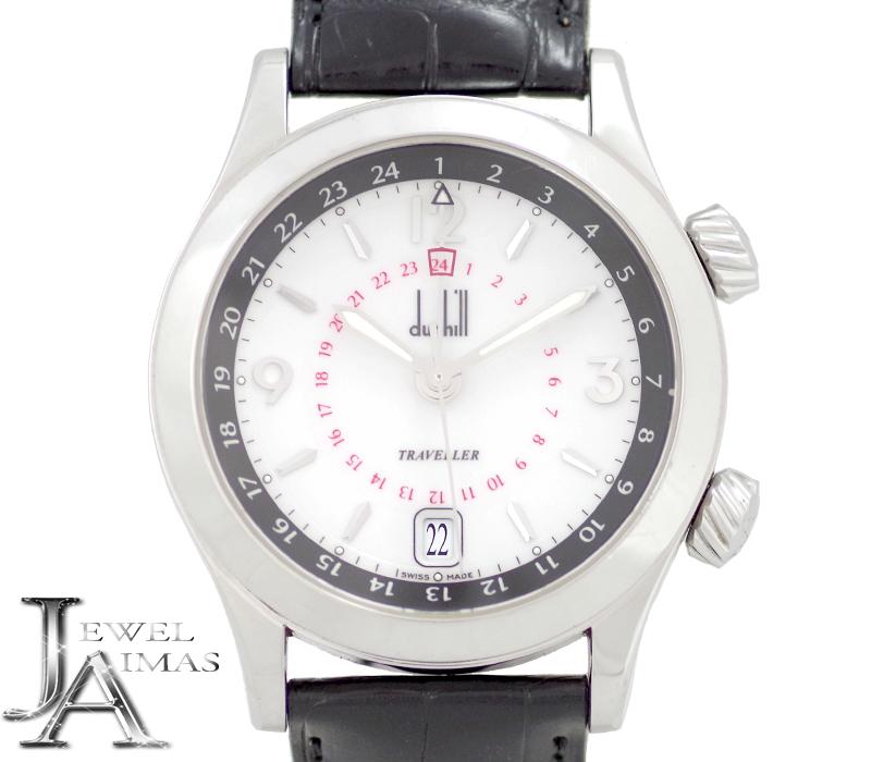 【スーパーSALE10%オフ!】【Dunhill】ダンヒル シティスケープ トラベラー GMT 8024 デイト 白 ホワイト 文字盤 SS ステンレス 純正レザーベルト 純正Dバックル メンズ 自動巻き【中古】【腕時計】