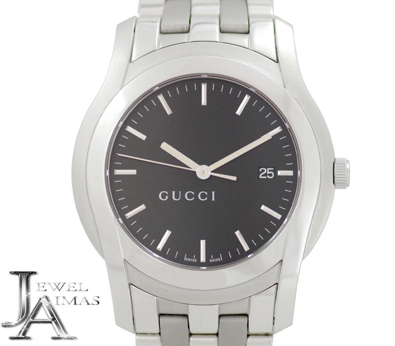 【スーパーSALE10%オフ!】【GUCCI】グッチ 5500XL ブラック 文字盤 SS ステンレス メンズ クォーツ【中古】【腕時計】