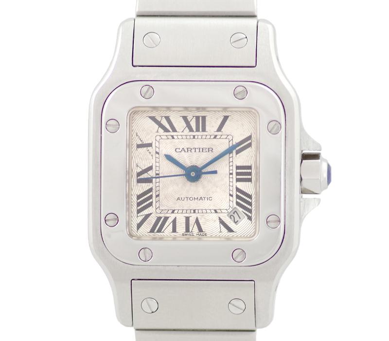 【スーパーSALE10%オフ!】【Cartier】カルティエ サントスガルベSM W20054D6 白 ホワイト シルバー ギョーシェ 文字盤 SS ステンレス レディース 自動巻き【中古】【腕時計】