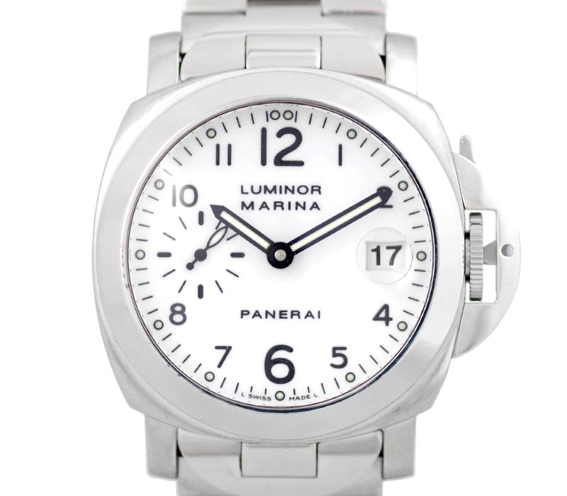 【スーパーSALE10%オフ!】【PANERAI】パネライ ルミノール マリーナ PAM00051 OP6529 40mm D番 白 ホワイト 文字盤 アラビア ダイアル SS ステンレス メンズ 自動巻き【中古】【腕時計】