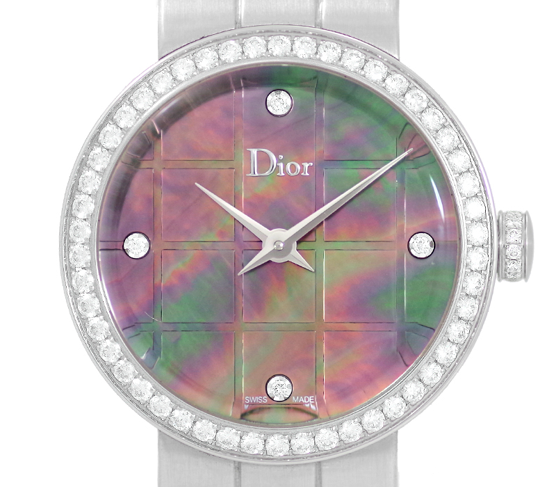 【Christian Dior】クリスチャンディオール La D De Dior ラ ディ ドゥ ディオール 25mm 純正ダイヤベゼル 4Pダイヤインデックス CD047110-J ブラックシェル マザーオブパール 文字盤 SS ステンレス レディース クォーツ【中古】【腕時計】