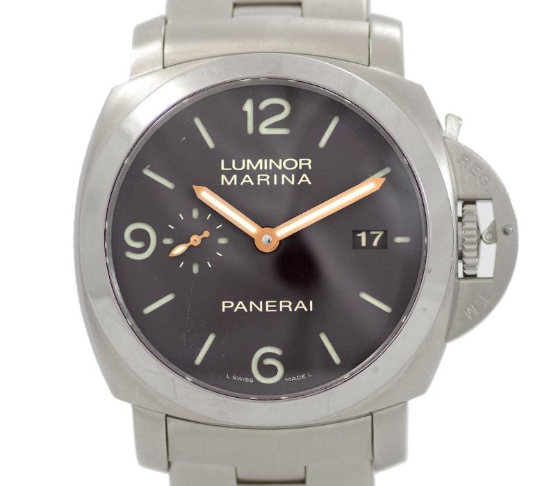 【PANERAI】パネライ ルミノール マリーナ 1950 3Days デイズ PAM00352 M番 デイト 黒 ブラック 文字盤 裏スケ チタン メンズ 自動巻き【中古】【腕時計】