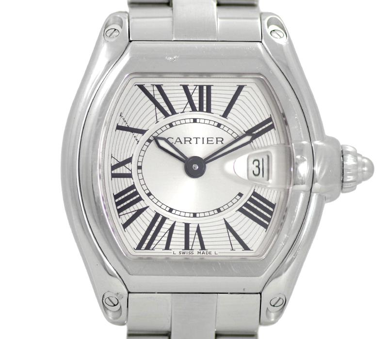 【Cartier】カルティエ ロードスター SM W62016V3 100m防水 330ft デイト シルバー 文字盤 SS ステンレス レディース クォーツ【中古】【腕時計】