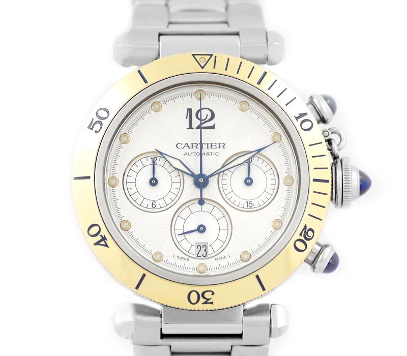 【Cartier】カルティエ パシャ 38mm W31036T6 クロノグラフ ギョーシェ シルバー 文字盤 SS ステンレス K18YG イエローゴールド メンズ 自動巻き【中古】【腕時計】