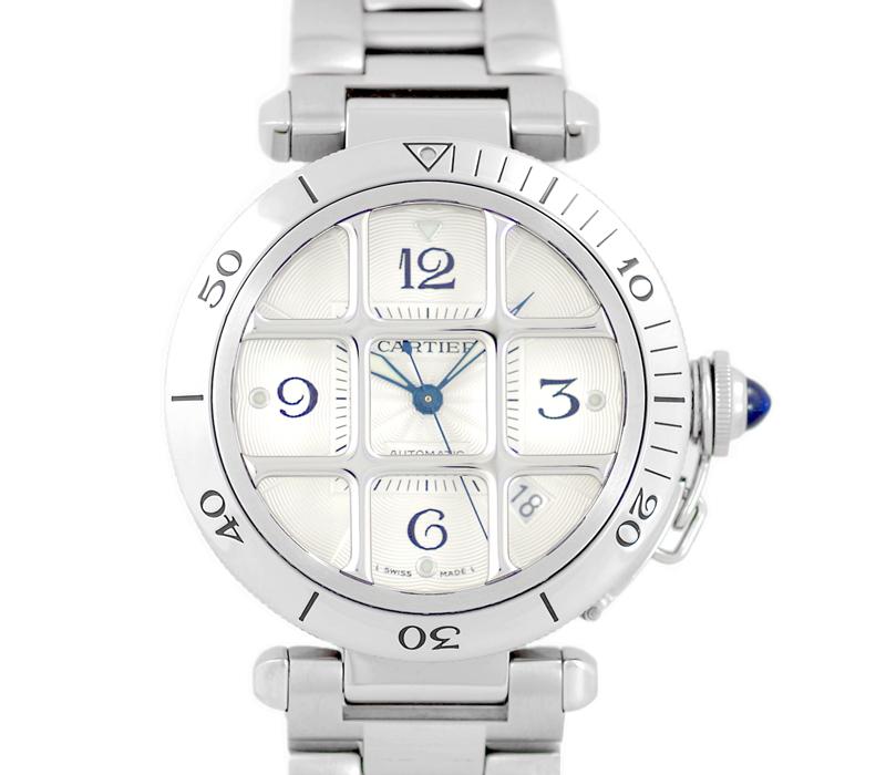 【Cartier】カルティエ パシャ 38 グリッド W31040H3 裏スケルトン シルバー 文字盤 SS ステンレス メンズ 自動巻き グリット【中古】【腕時計】