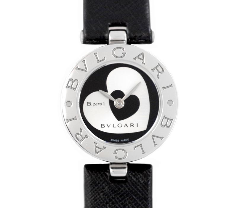 【BVLGARI】ブルガリ ビーゼロワン Bzero-1 BZ22S ダブルハート シルバー 黒 ブラック 文字盤 SS ステンレス スチール 純正ベルト レディース クォーツ【中古】【腕時計】