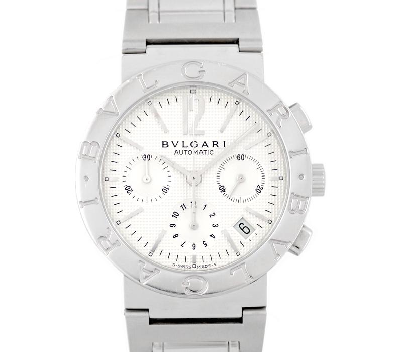 【BVLGARI】ブルガリ ブルガリブルガリ BB38SSCH クロノグラフ 新型 白 シルバー 文字盤 SS ステンレス メンズ 自動巻き ホワイト【中古】【腕時計】