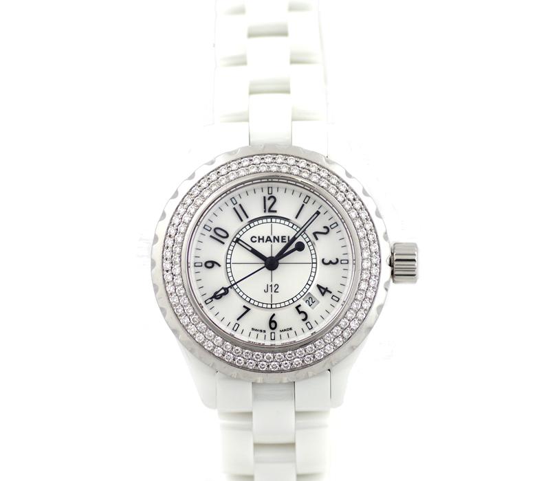 【CHANEL】シャネル J12 33mm H0967 純正ダイヤモンドベゼル 白 ホワイト 文字盤 セラミック レディース クォーツ【中古】【腕時計】