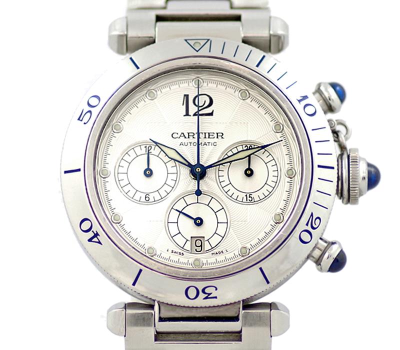 【Cartier】カルティエ パシャ 38mm クロノグラフ デイト W31030H3 シルバー ギョーシェ 文字盤 SS ステンレス メンズ 自動巻き 裏スケ W3130H8【中古】【腕時計】