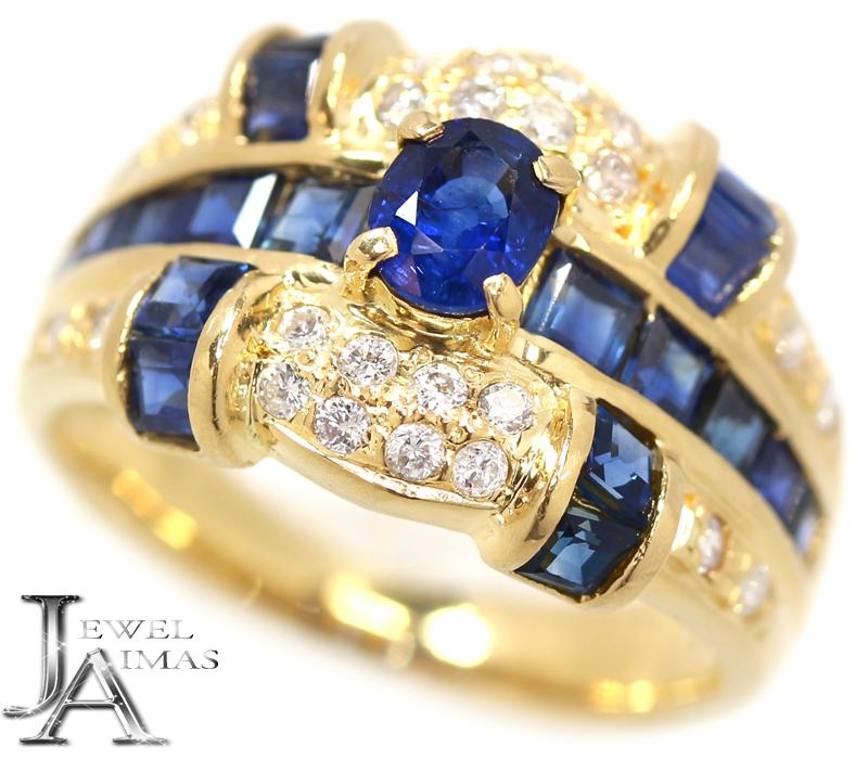 ブルーサファイア 1.98ct ダイヤモンド 0.24ct  リング 10号 K18YG イエローゴールド 【中古】【ジュエリー】MEB