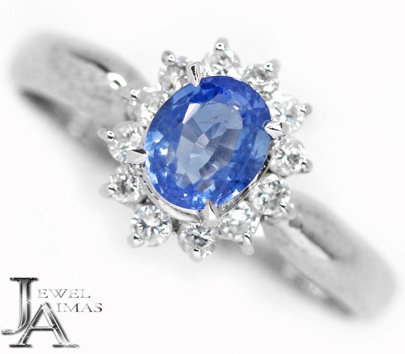 ブルーサファイア 0.94ct ダイヤモンド 0.27ct リング 16号 PT850 プラチナ【中古】【ジュエリー】MEB
