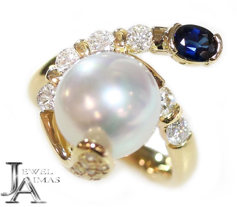 真珠 パール 10.6mm ダイヤモンド 0.72ct サファイア 0.46ct アシンメトリー デザイン リング 8.5号 K18YG イエローゴールド【中古】【ジュエリー】MEJ