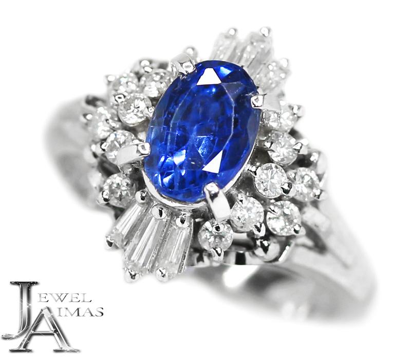 ブルーサファイア 1.76ct ダイヤモンド 0.49ct オーバル 楕円 リング 10.5号 PT900 プラチナ【中古】【ジュエリー】MEJE