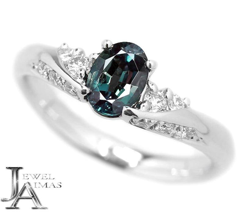 アレキサンドライト 0.627ct ダイヤモンド 0.21ct オーバル 楕円 リング 11号 PT900 プラチナ【中古】【ジュエリー】MEJZ
