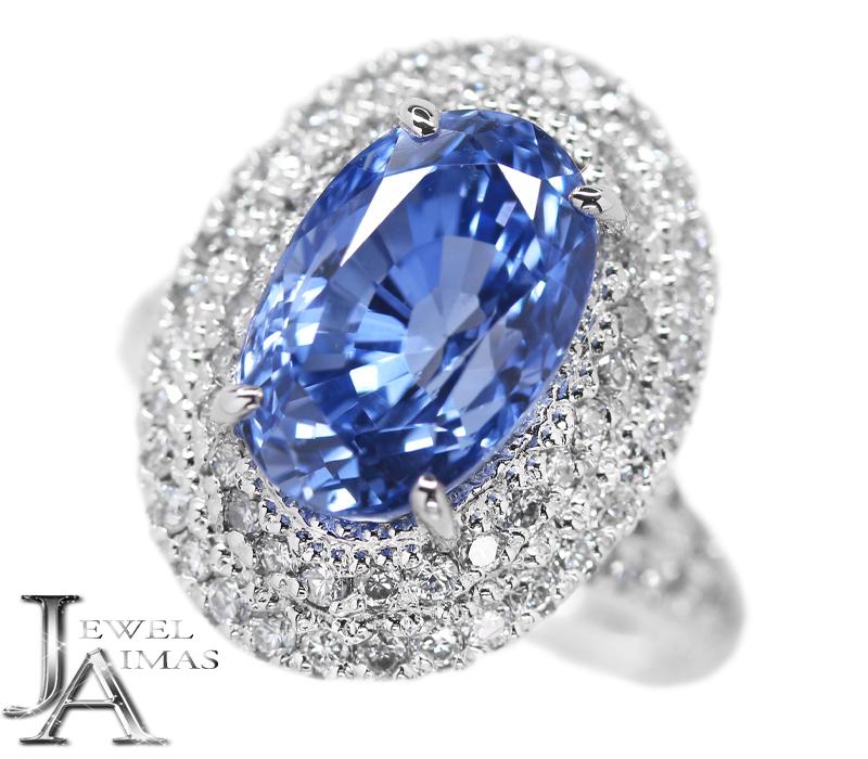 スリランカ産ブルーサファイア 5.81ct ダイヤモンド 0.84ct オーバル 楕円 リング 9号 PT900 プラチナ Sri Lanka【新品】【ジュエリー】RZZ.I