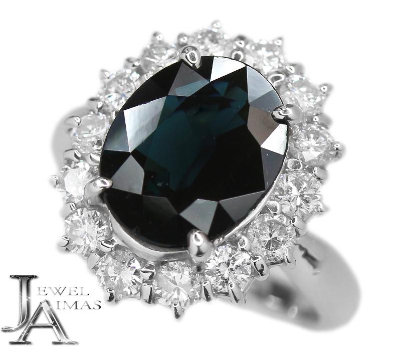 ブルーサファイア 3.69ct ダイヤモンド 0.95ct オーバル 楕円 リング 9号 PT900 プラチナ【中古】【ジュエリー】RZM.I